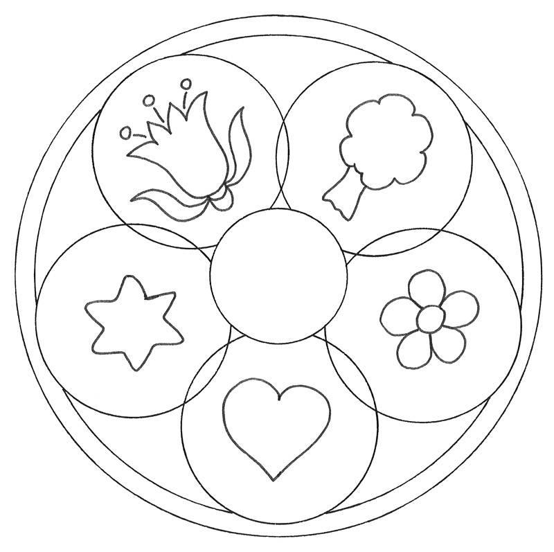 Ausmalbild Mandalas: Mandala Natur und Liebe kostenlos ausdrucken