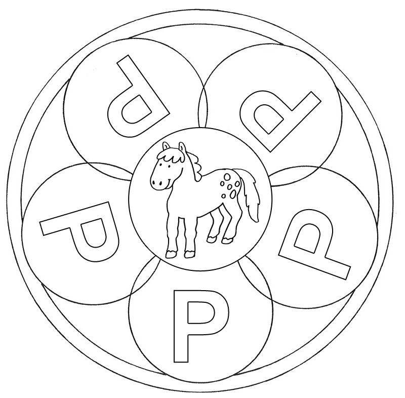 Kostenlose Malvorlage Mandalas: Mandala Buchstabe P zum Ausmalen zum ...