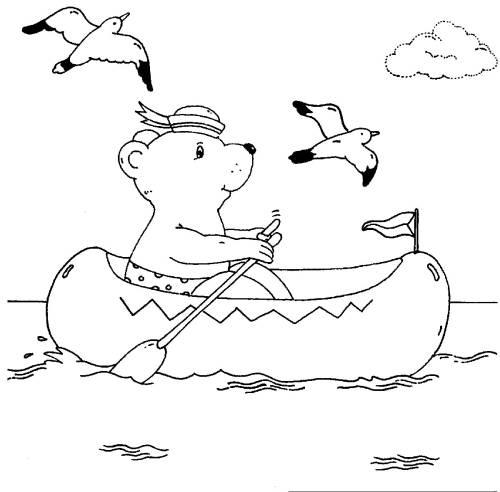 Kostenlose Malvorlage Urlaub und Reisen: Bär paddelt im Schlauchboot ...