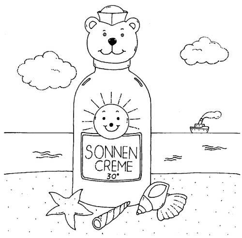 kostenlose malvorlage sommer sonnencreme am strand zum