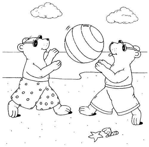 kostenlose malvorlage sport wasserball spielen am strand