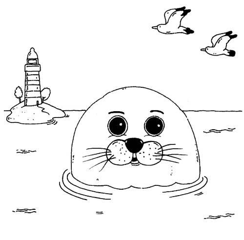 Kostenlose Malvorlage Tiere: Robbe im Meer zum Ausmalen