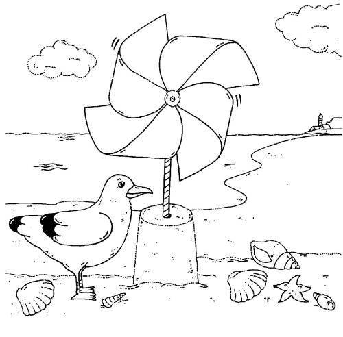 Sandburg malvorlage  Kostenlose Malvorlage Vögel: Möwe und Windrad zum Ausmalen