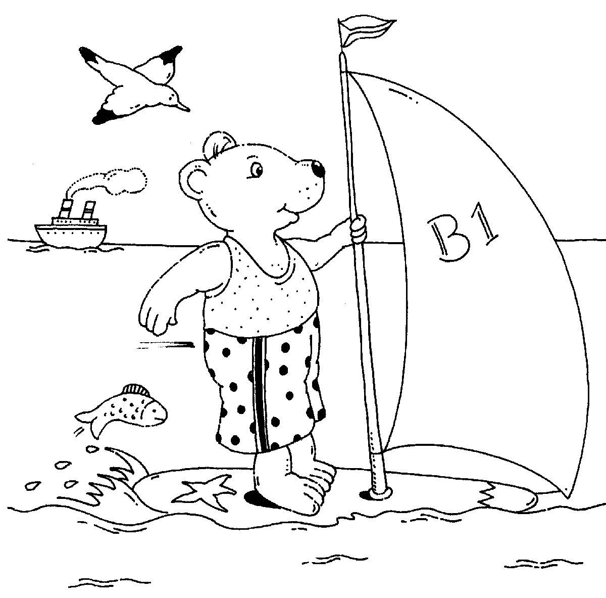 Ausmalbild Urlaub und Reisen: Bär auf dem Surfbrett kostenlos ausdrucken