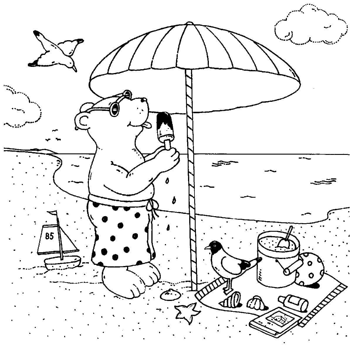 Ausmalbild Urlaub und Reisen: Bär isst Eis am Strand kostenlos ...