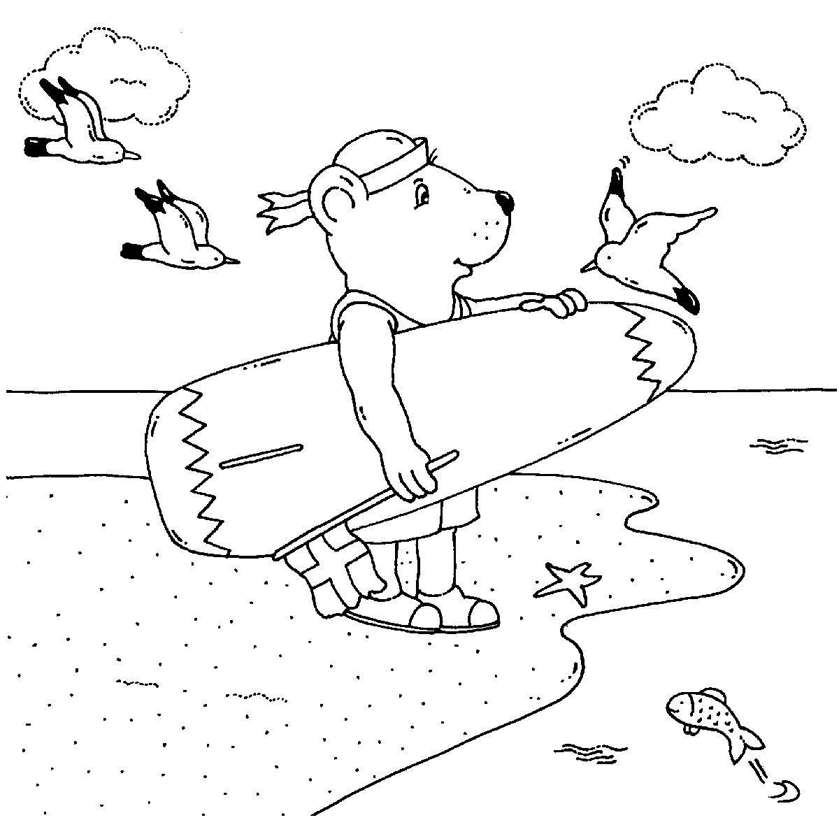 Ausmalbild Urlaub und Reisen: Bär mit Surfbrett kostenlos ausdrucken