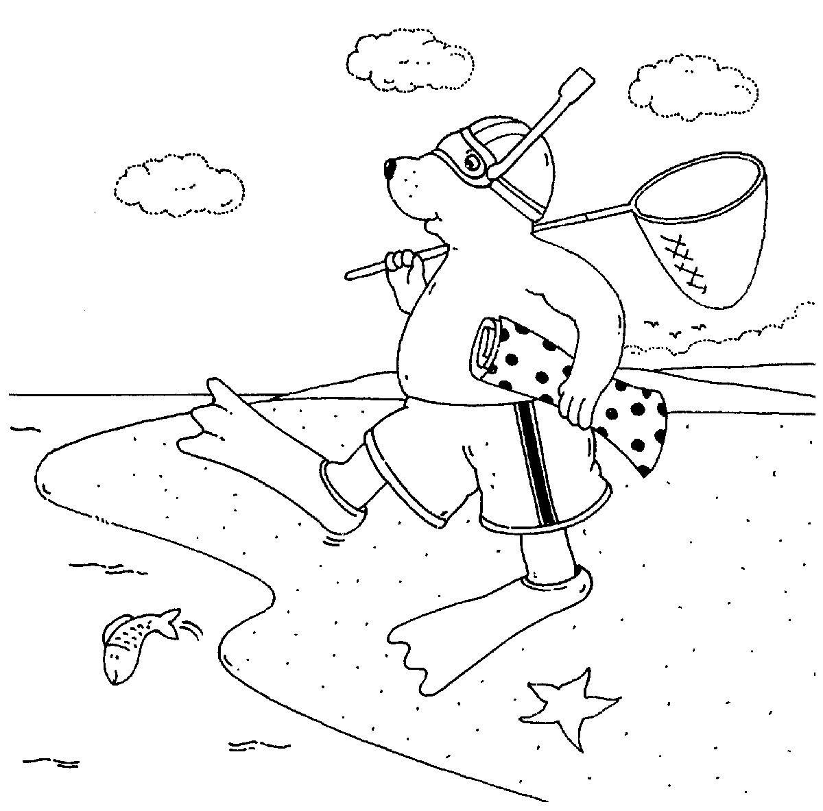 Ausmalbild Urlaub und Reisen: Bär geht zum Schnorcheln kostenlos ...