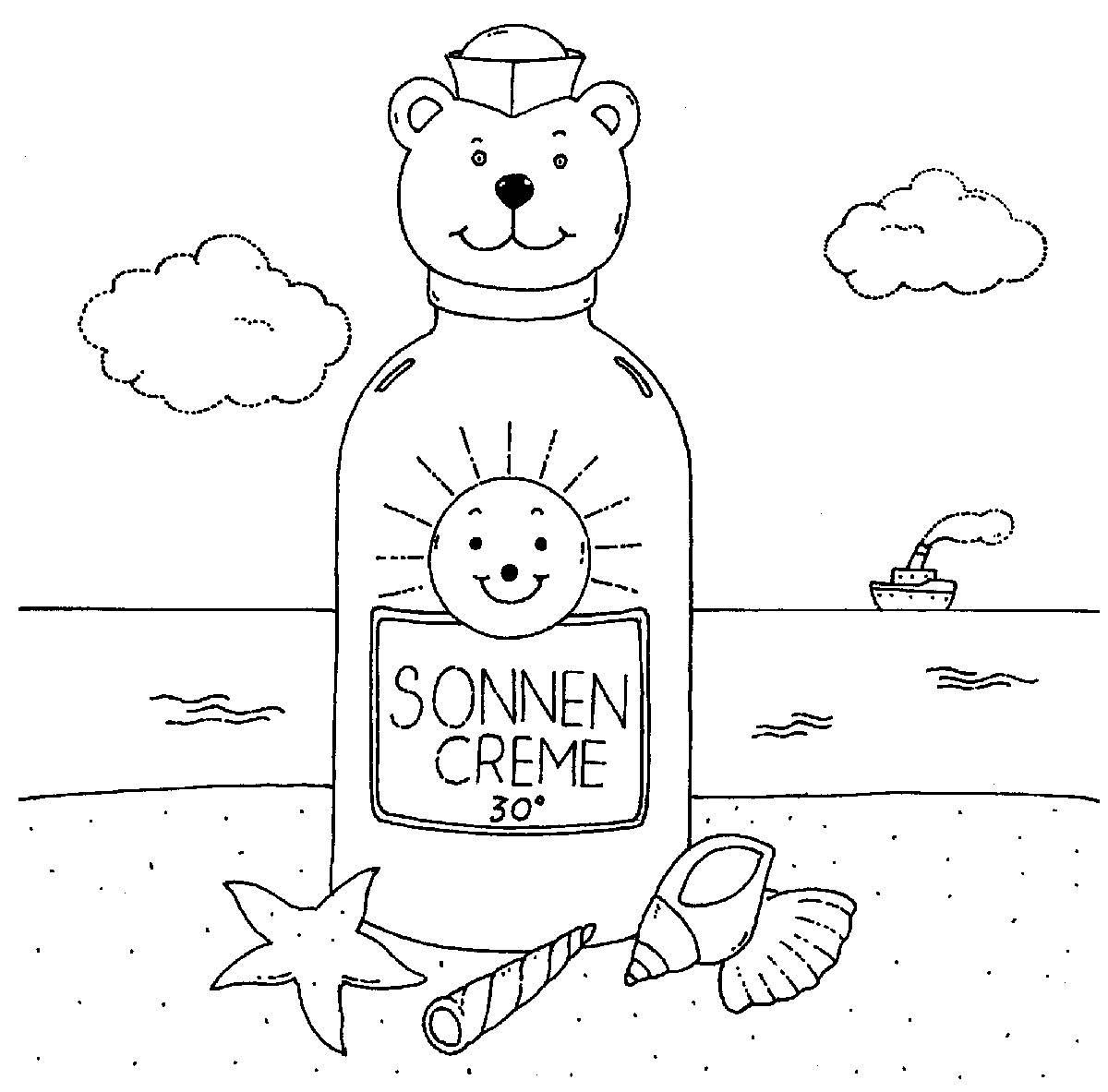 Kostenlose Malvorlage Sommer: Sonnencreme am Strand zum Ausmalen