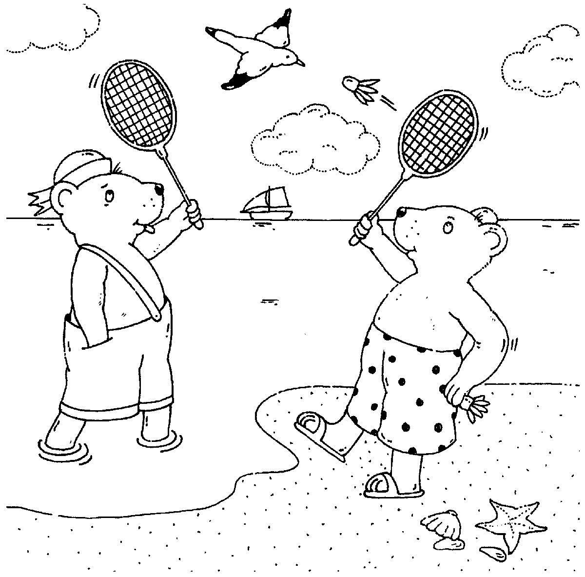 Ausmalbild Sport: Federball spielen am Strand kostenlos ausdrucken