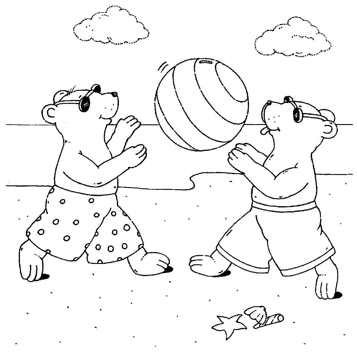Ausmalbild Sport Wasserball Spielen Am Strand Kostenlos Ausdrucken