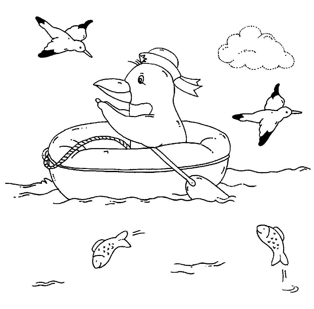 Ausmalbild Vögel: Pinguin im Schlauchboot kostenlos ausdrucken
