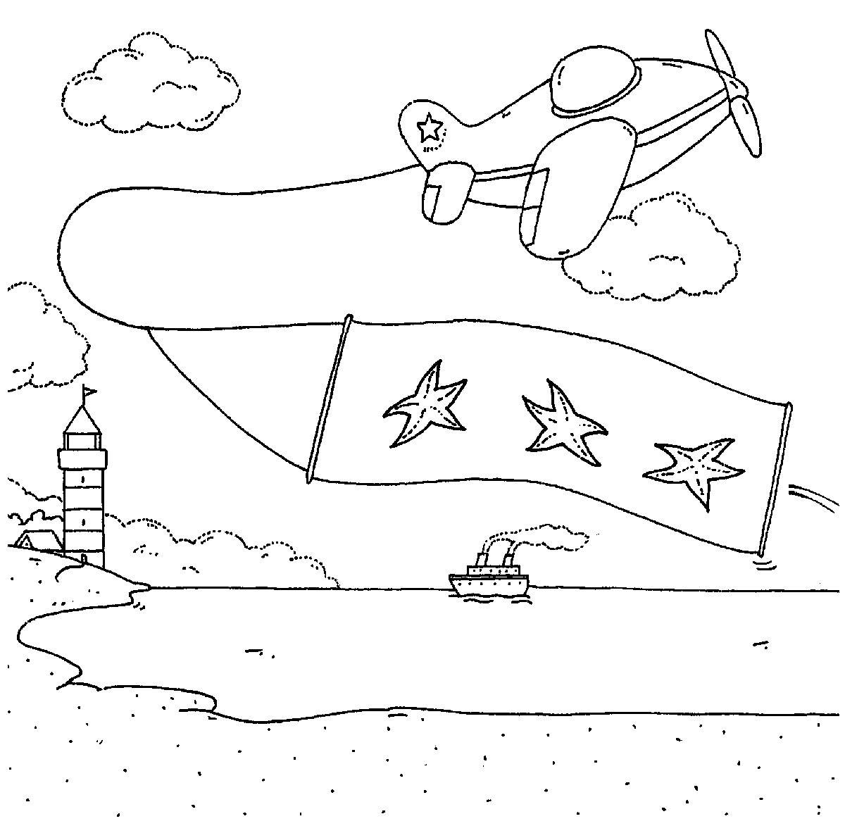 Ausmalbild Transportmittel: Segelflieger am Strand kostenlos ausdrucken