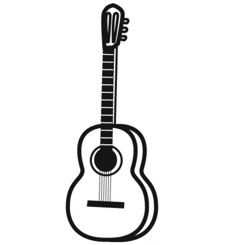 Ausmalbild Musik: Gitarre kostenlos ausdrucken