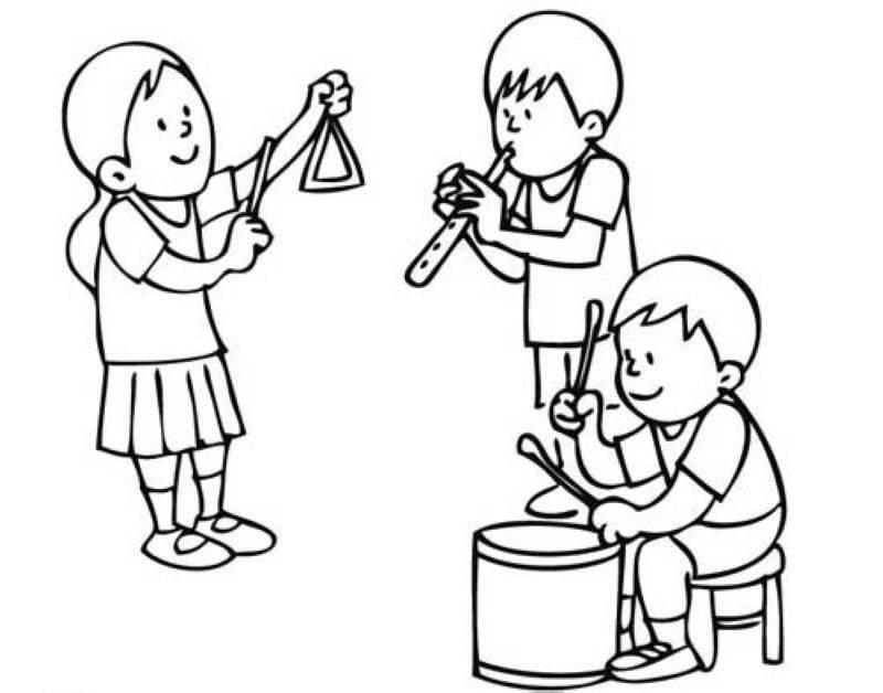 Ausmalbild Musik: Kinder In Der Musikschule Kostenlos