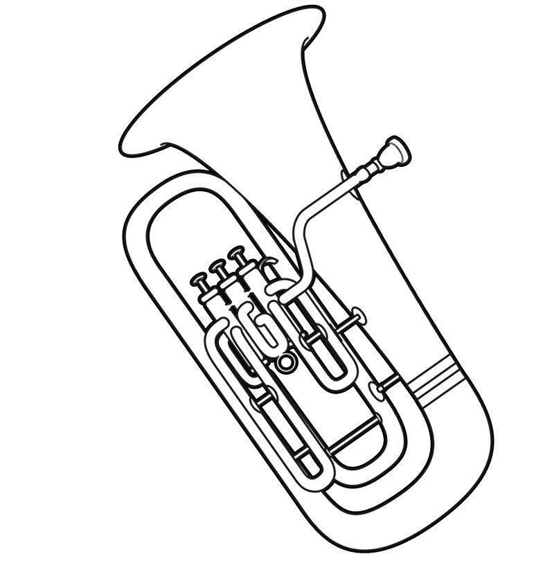Kostenlose Malvorlage Musik Tuba Zum Ausmalen