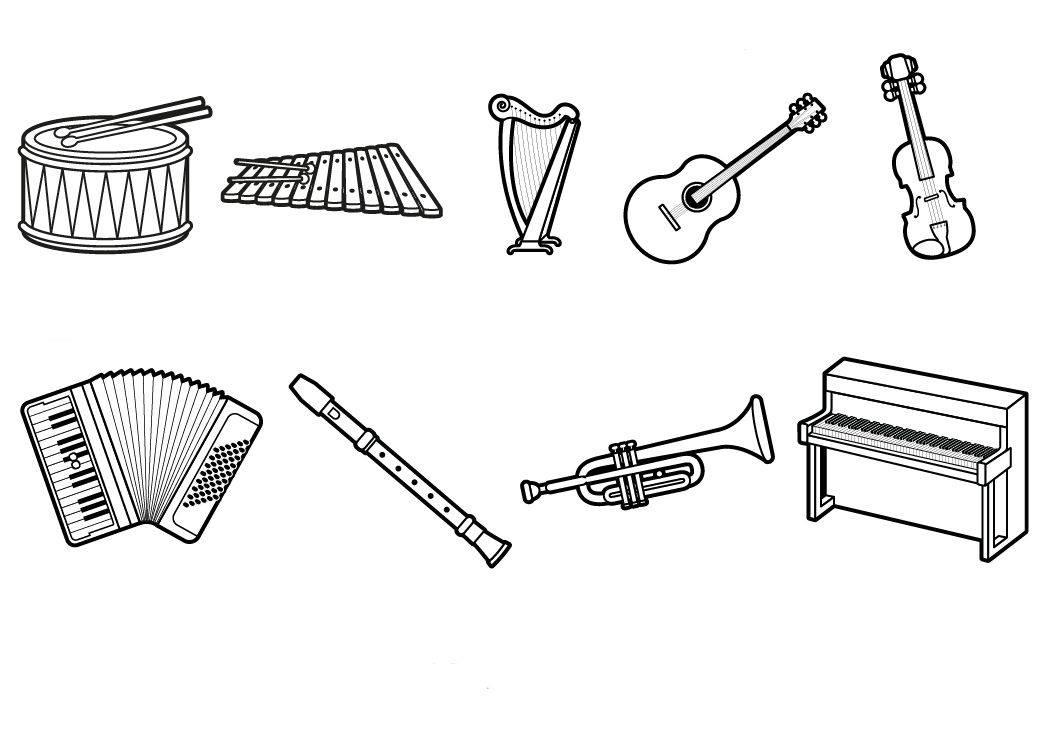 Ausmalbild Musik Musikinstrumente Ausmalen Kostenlos Ausdrucken