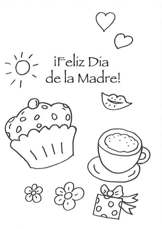 Ausmalbild Muttertag Muttertagsgruss Leckereien Spanisch