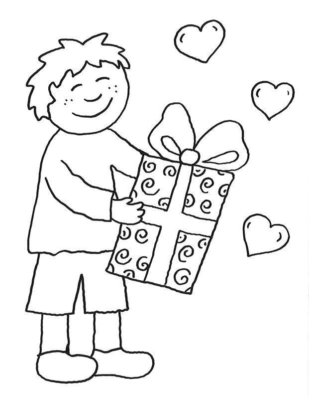 Ausmalbild Muttertag: Junge mit Muttertagsgeschenk zum ...