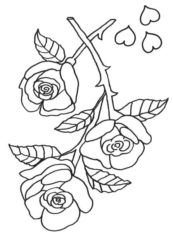 Ausmalbild Muttertag: Rosen zum Ausmalen kostenlos ausdrucken