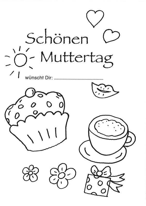 ausmalbild muttertag muttertagsgrußkarte kaffee trinken