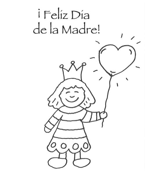 Kostenlose Malvorlage Muttertag: Spanische Muttertagsgrüße zum ...