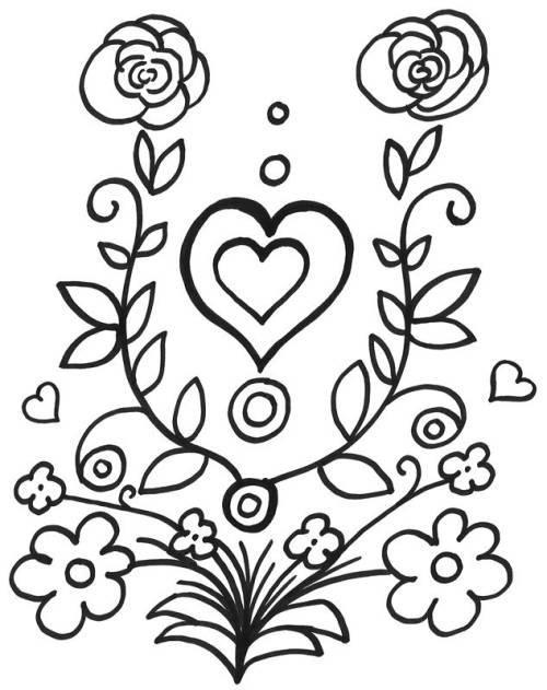 Kostenlose Malvorlage Muttertag: Blumen und Herz zum Ausmalen