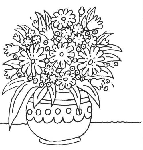 Kostenlose Malvorlage Muttertag Blumentopf Mit Vielen