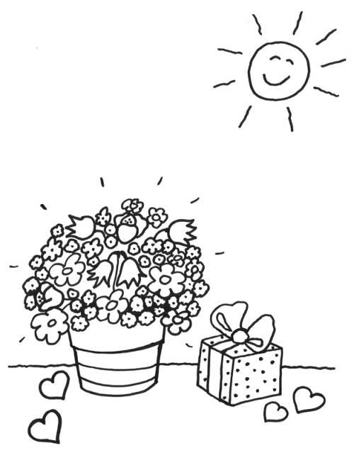 Kostenlose Malvorlage Muttertag: Blumentopf und Geschenk zum Ausmalen
