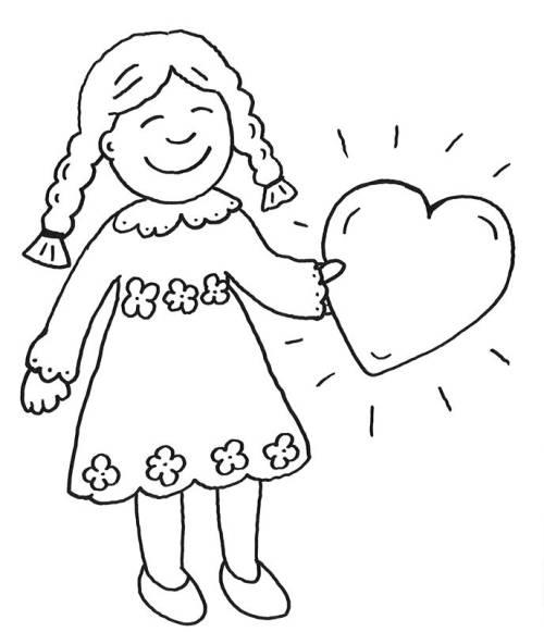 Kostenlose Malvorlage Muttertag: Mädchen mit Herz zum Ausmalen zum ...
