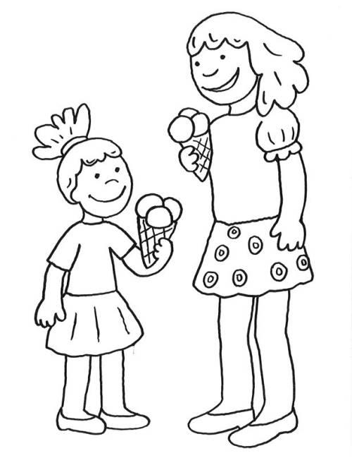 Kostenlose Malvorlage Muttertag: Eisessen am Muttertag zum ...