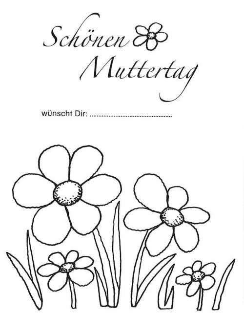 Kostenlose Malvorlage Muttertag Muttertagsgruß Mit Blumen Zum Ausmalen