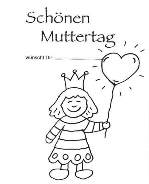 Kostenlose Malvorlage Muttertag: Muttertagsgruß Mädchen mit Herz zum ...
