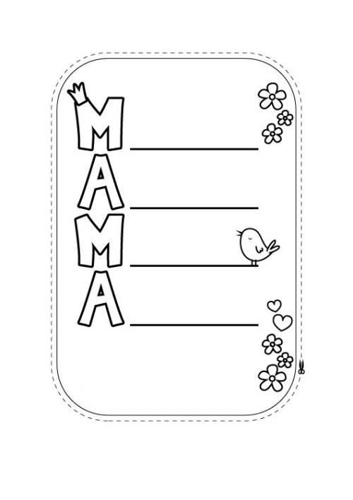 Kostenlose Malvorlage Muttertag: Karte für Mama zum Ausmalen zum ...