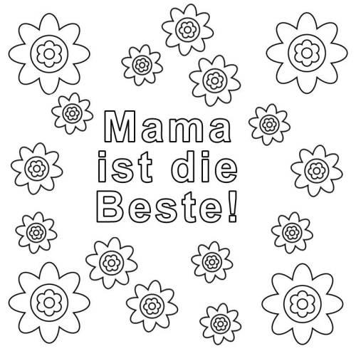 Kostenlose Malvorlage Muttertag: Mama ist die Beste zum Ausmalen