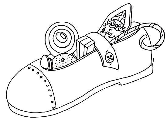 Ausmalbild Nikolaus Gefüllter Schuh Kostenlos Ausdrucken