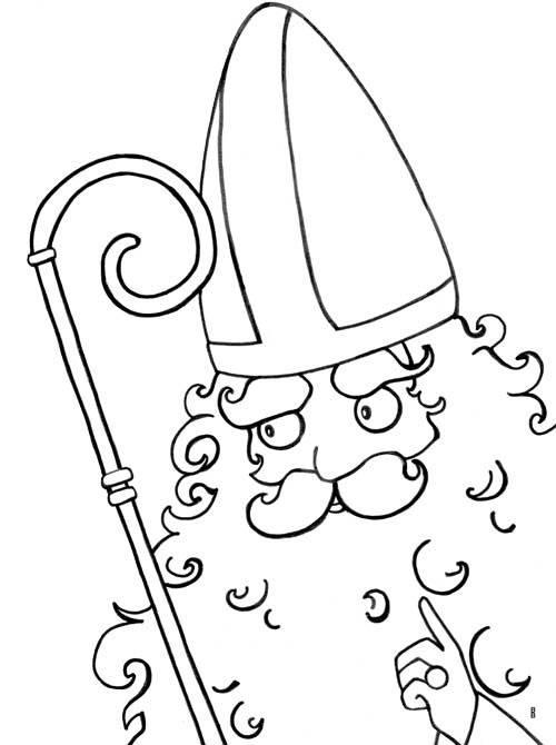 Kostenlose Malvorlage Nikolaus: Heiliger Nikolaus zum Ausmalen