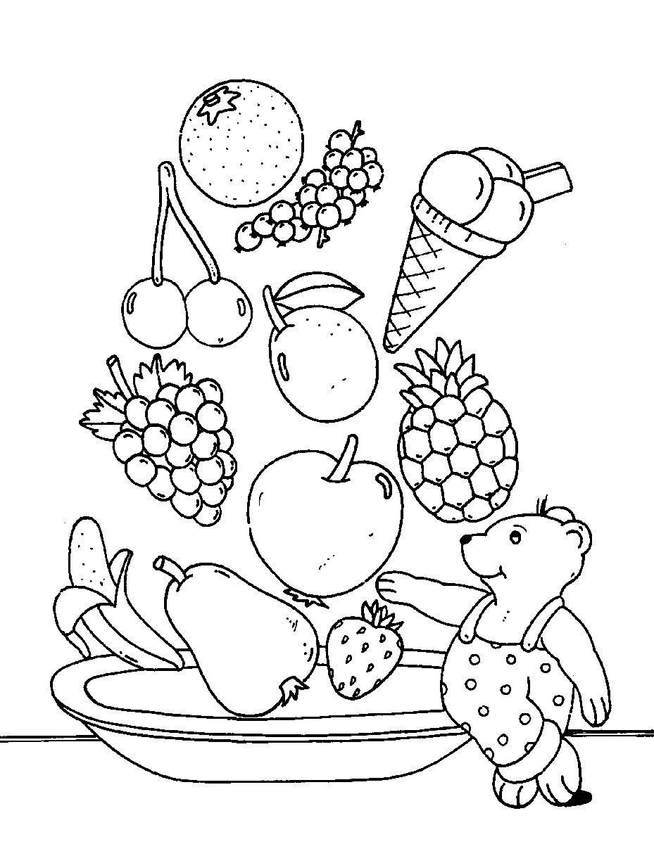Kostenlose Malvorlage Obst und Gemüse: Obstsalat zum Ausmalen