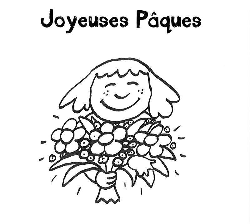 Ausmalbild Ostern Ostergrüße Französisch Mädchen Mit Blumenstrauß