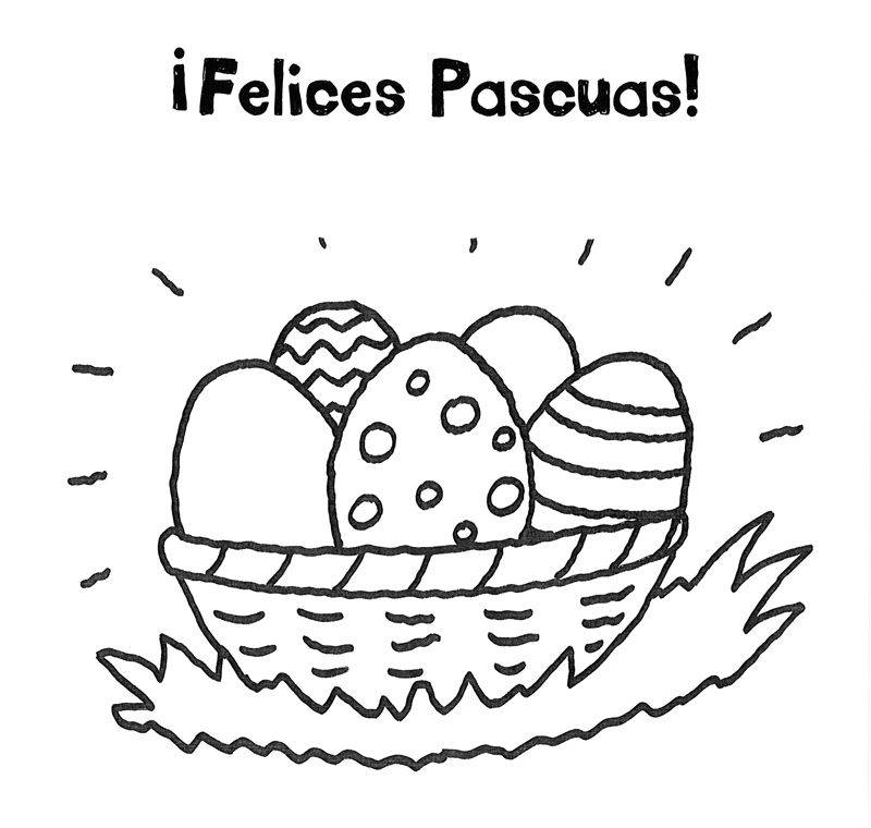 ausmalbild ostern osternest mit ostergrüßen auf spanisch