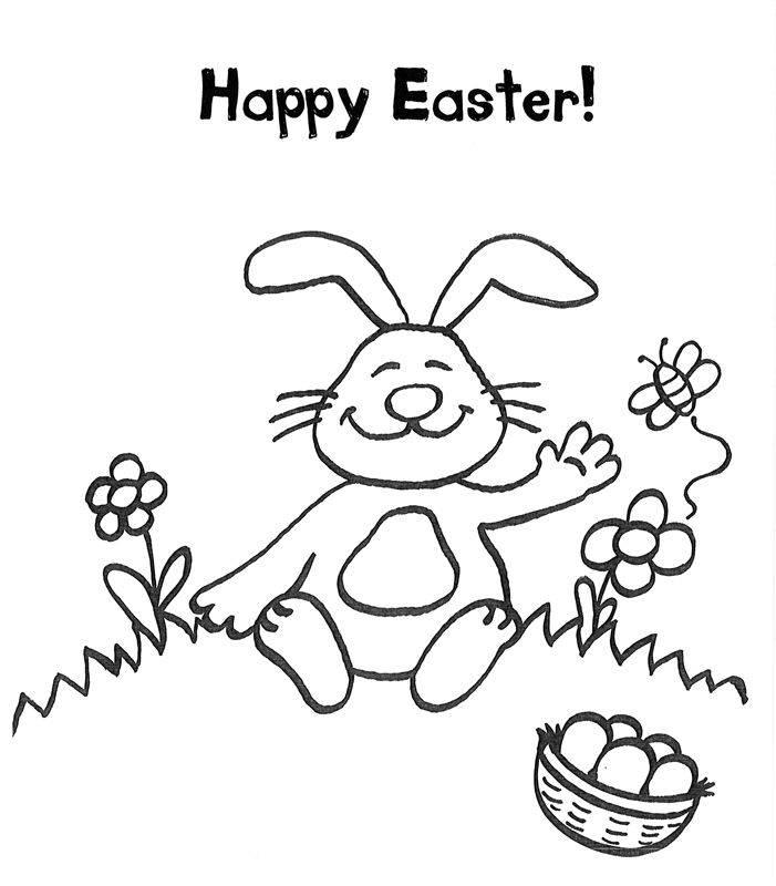 Ausmalbild Ostern: Osterhase mit Ostergrüßen auf Englisch