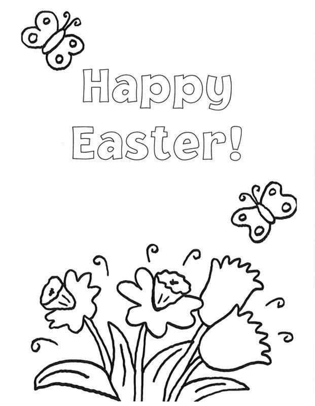 Ausmalbild Ostern: Blumengruß zu Ostern auf Englisch kostenlos ...