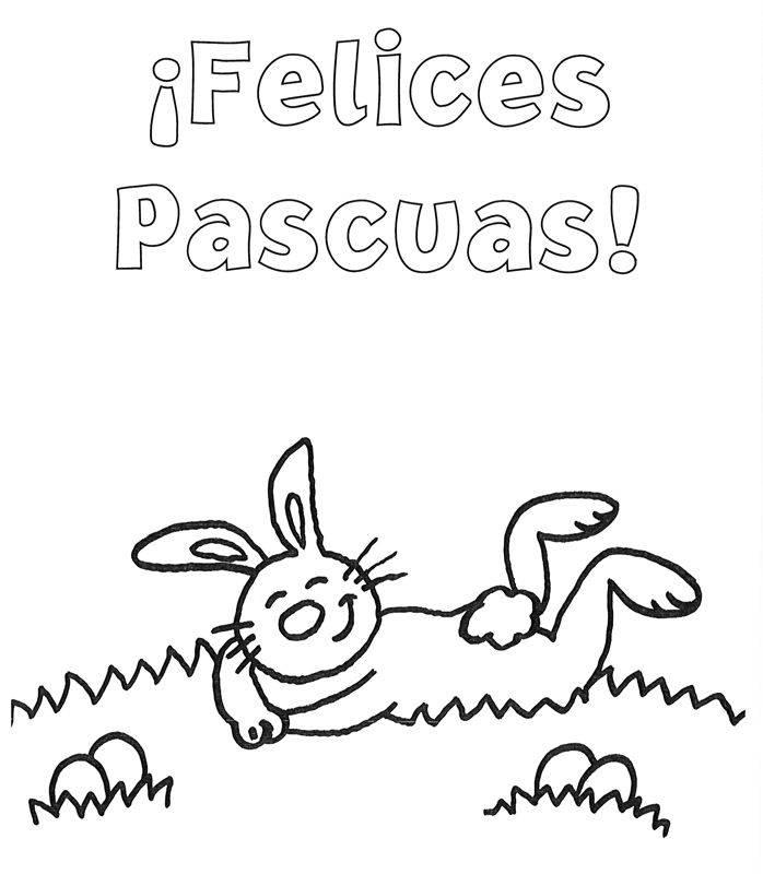 Ausmalbild Ostern: Kostenloser Ostergruß auf spanisch kostenlos ...