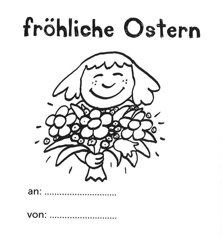 Ausmalbild Ostern: Fröhliche Ostern mit Blumenstrauss kostenlos ...