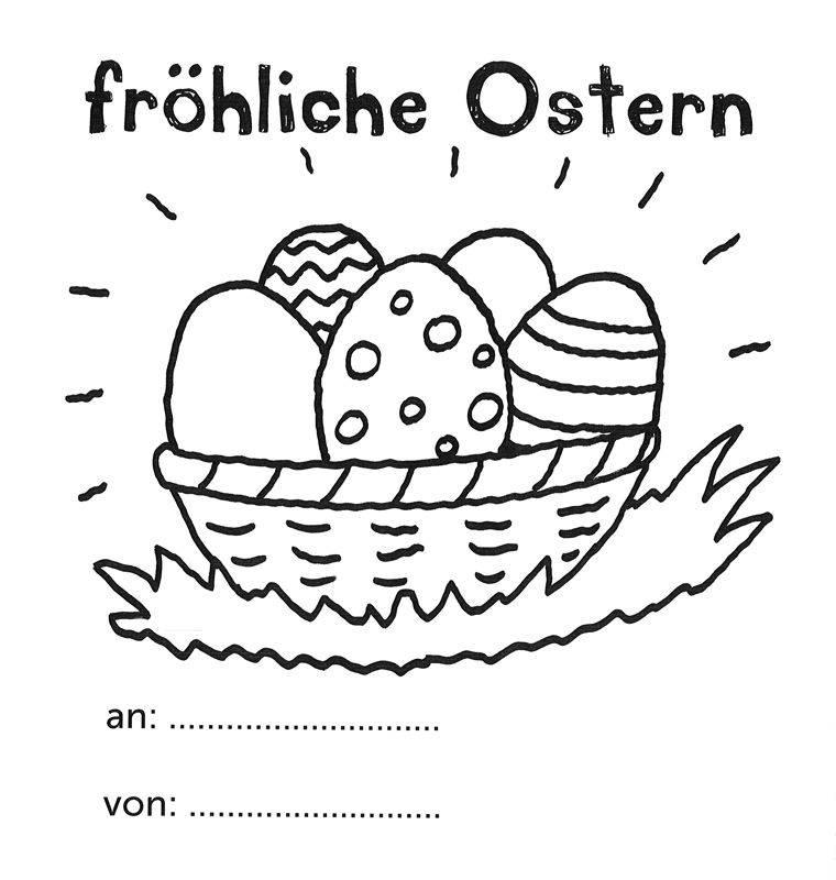 Ausmalbild Ostern: Fröhliche Ostern mit Ostereierkorb kostenlos ...