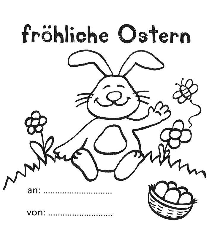 Ausmalbild Ostern Fröhliche Ostern Mit Dem Osterhasen Kostenlos