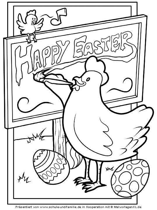 Ausmalbild Ostern Frohe Ostern Kostenlos Ausdrucken