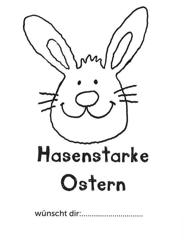 Kostenlose Malvorlage Ostern: Osterhasengruß zum Ausmalen