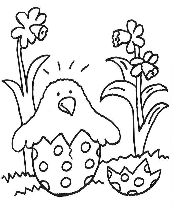 Ausmalbild Ostern: Ku00fcken aus dem Osterei kostenlos ausdrucken