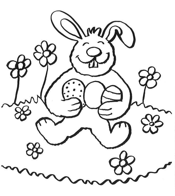Ausmalbild Ostern: Lachenden Osterhasen ausmalen kostenlos ausdrucken