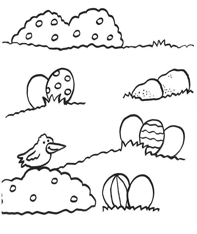 ausmalbild ostern: ostereier auf der wiese zum ausmalen